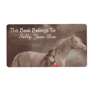 Moonlight Night Dream Horse Lady Bookplates Labels