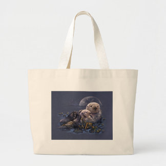 Moonlight Otters Large Tote Bag