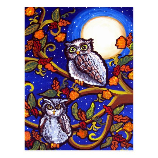 Moonlight Owls Postcard