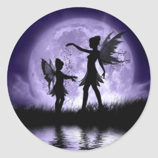 Moonlight Sihouettes Round Sticker