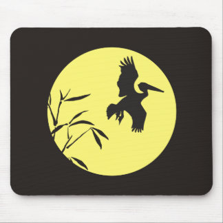 Moonlight Silhouette Pelican Bamboo Mousepad