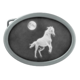 Moonlight Stallion Oval Belt Buckle