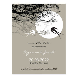Moonlight Swallows Ash Save The Date Postcard