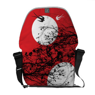 Moonlight Swallows Silhouette Branches Art Bag Messenger Bags