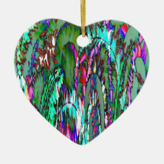 Moonlight through feathered grasses ceramic heart decoration