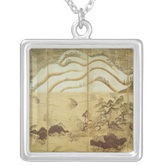 Moonlight Winter Landscape Silver Plated Necklace