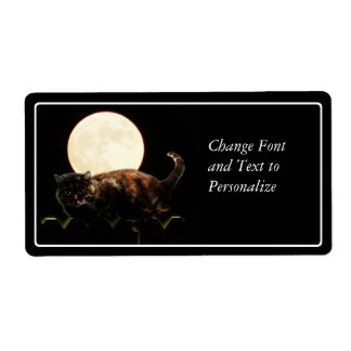 Moonlit Cat on a Fence With Full Moon Shipping Label