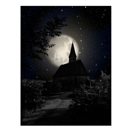 Moonlit Church Postcard