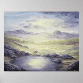 Moonlit Desert Landscape Poster