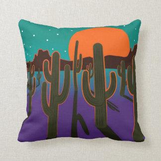 Moonlit desert with cactus. cushion
