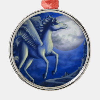 Moonlit Flight Silver-Colored Round Decoration