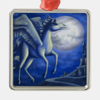 Moonlit Flight Silver-Colored Square Decoration