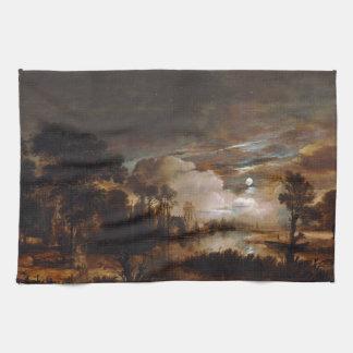 Moonlit Landscape by Aert Van Der Neer (1647) Kitchen Towel
