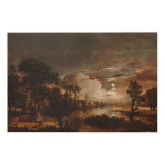 Moonlit Landscape by Aert Van Der Neer (1647) Wood Canvases