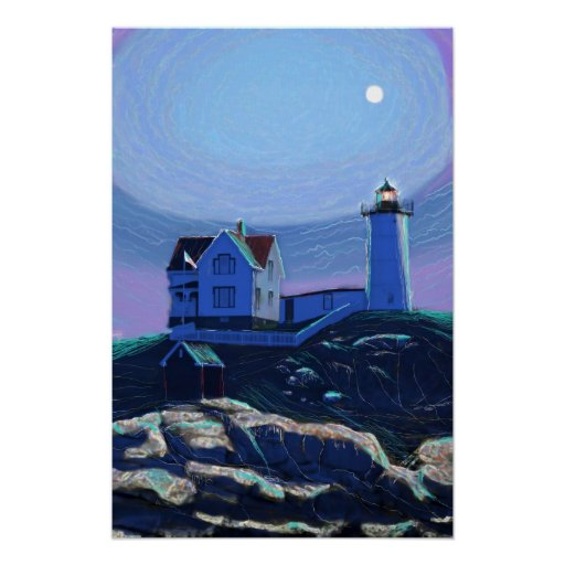 Moonlit Nubble Lighthouse Standard Premium Canvas Poster