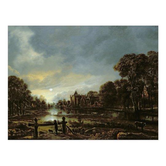 Moonlit River Landscape with Cottages Postcard