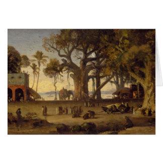 Moonlit Scene of Indian Figures and Elephants amon Card