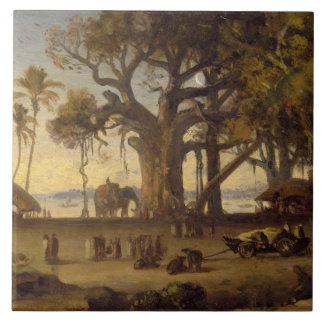 Moonlit Scene of Indian Figures and Elephants amon Large Square Tile