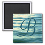 Moonlit Sea Monogrammed Stateroom Door Marker Square Magnet
