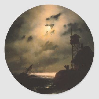 Moonlit Seascape With Shipwreck Round Sticker