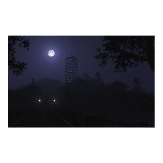Moonlit Skyscraper Poster