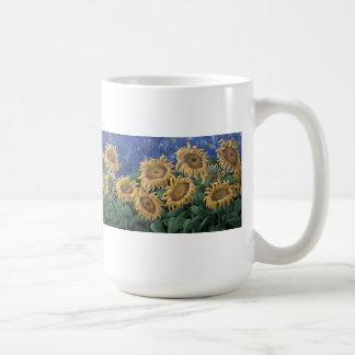 Moonlit Starry Night Sunflower Basic White Mug