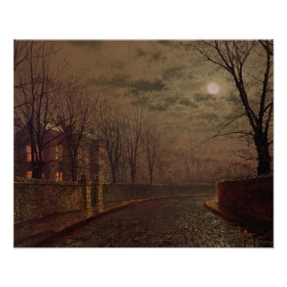 Moonlit Street Scene, 1882 (oil on canvas) Poster