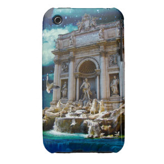 Moonlit Trevi Fountain Tropical Fantasy iPhone 3 Case