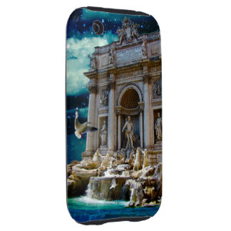 Moonlit Trevi Fountain Tropical Fantasy Tough iPhone 3 Cover