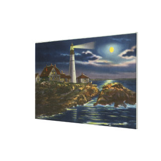 Moonlit View of the Portland Head Lighthouse Stretched Canvas Prints