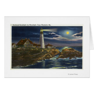 Moonlit View of the Portland Head Lighthouse Greeting Card