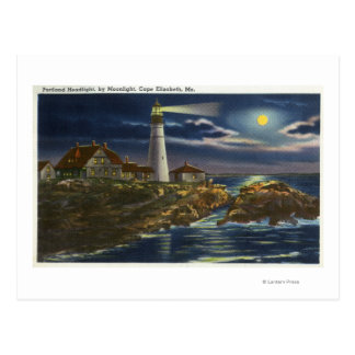 Moonlit View of the Portland Head Lighthouse Postcard