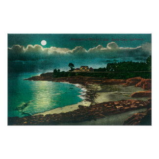 Moonlit view of the Vue de l'EauSanta Cruz, CA Poster