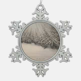 Moonlit Winter Night Snowflake Pewter Christmas Ornament