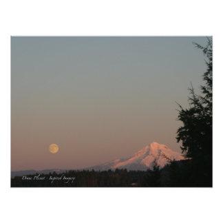Moonrise and Mt. Hood Photographic Print