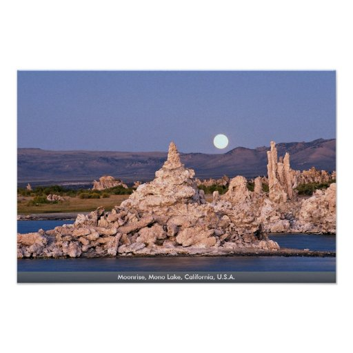 Moonrise, Mono Lake, California, U.S.A. Poster