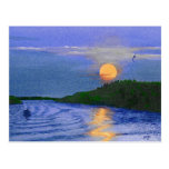 Moonrise on the River Post Cards