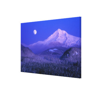 Moonrise over Mt Hood winter, Oregon Canvas Print