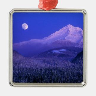 Moonrise over Mt Hood winter, Oregon Christmas Ornament