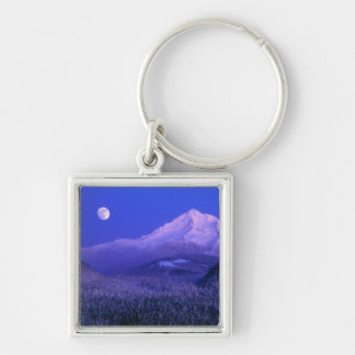 Moonrise over Mt Hood winter, Oregon Key Ring