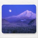 Moonrise over Mt Hood winter, Oregon Mousepad