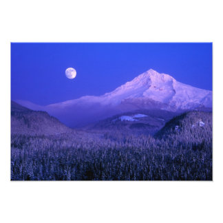 Moonrise over Mt Hood winter, Oregon Photo Print