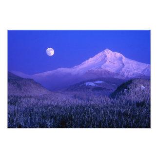 Moonrise over Mt Hood winter, Oregon Photograph
