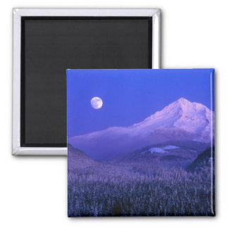 Moonrise over Mt Hood winter, Oregon Square Magnet