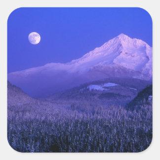 Moonrise over Mt Hood winter, Oregon Square Sticker