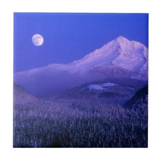 Moonrise over Mt Hood winter, Oregon Tile