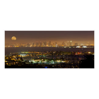 Moonrise over the San Diego skyline Poster