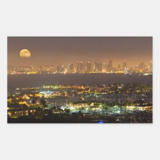 Moonrise over the San Diego skyline Rectangular Sticker