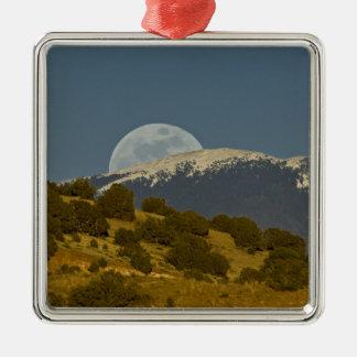 Moonrise over the Sangre de Cristo Mountains, Silver-Colored Square Decoration
