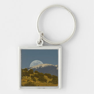 Moonrise over the Sangre de Cristo Mountains, Silver-Colored Square Key Ring